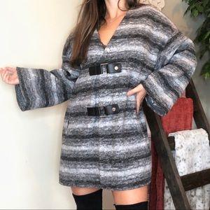 Michael Kors Stripe Leather Clasp Sweater Cardigan